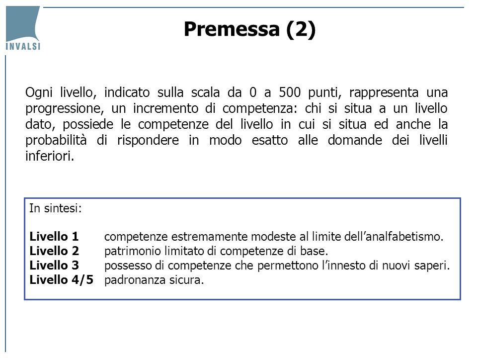 I livelli di competenza della popolazione italiana Il 46,1% della popolazione 16-65 anni si trova al livello 1 della scala di prose literacy, il 35,1% al livello 2 e il 18,8% ad un livello 3 o superiore; la distribuzione nei livelli per le altre tipologie di prove è abbastanza simile, tranne che per il problem solving, dove quasi il 70% delle persone non supera il livello 1.