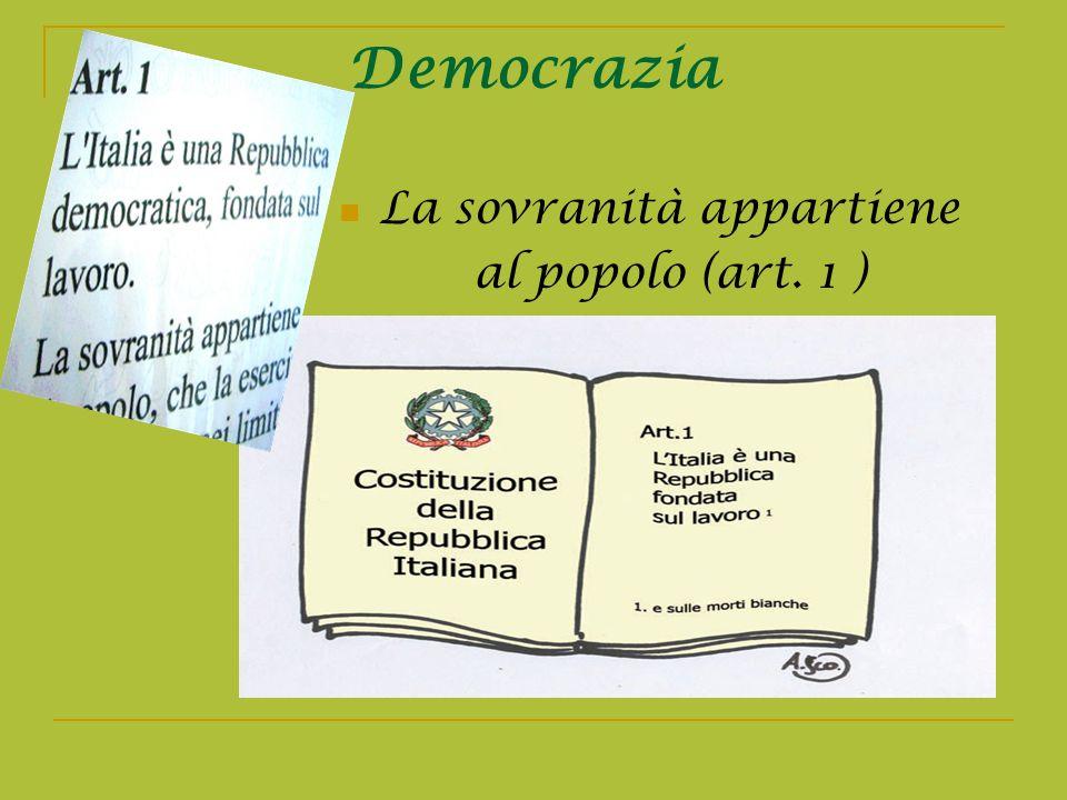 Democrazia La sovranità appartiene al popolo (art. 1 )