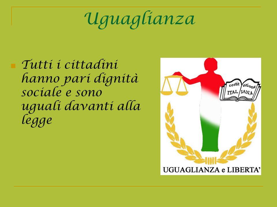 Uguaglianza Tutti i cittadini hanno pari dignità sociale e sono uguali davanti alla legge