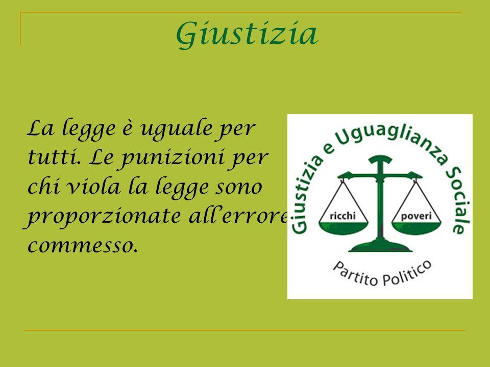 Giustizia La legge è uguale per tutti. Le punizioni per chi viola la legge sono proporzionate allerrore commesso.