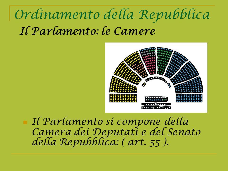Ordinamento della Repubblica Il Parlamento si compone della Camera dei Deputati e del Senato della Repubblica: ( art. 55 ). Il Parlamento: le Camere