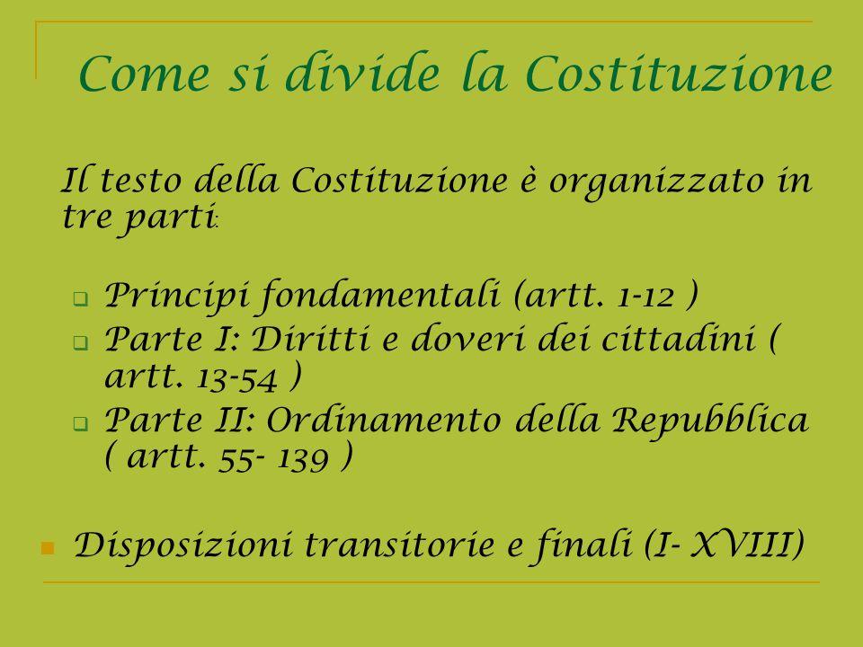 Principi fondamentali (artt. 1-12 ) Parte I: Diritti e doveri dei cittadini ( artt. 13-54 ) Parte II: Ordinamento della Repubblica ( artt. 55- 139 ) D