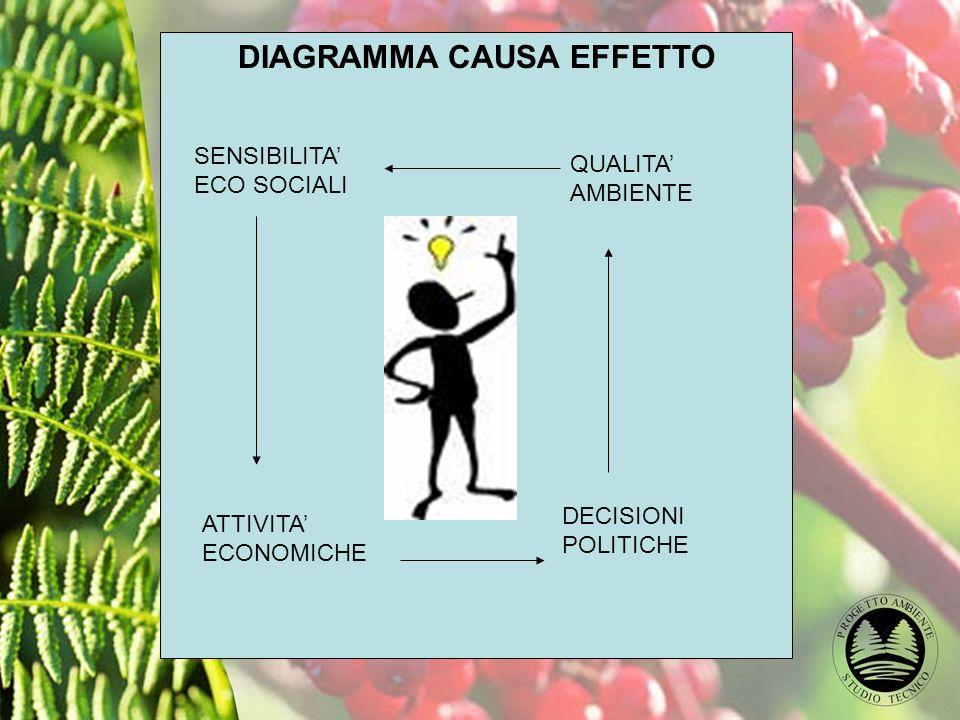 DIAGRAMMA CAUSA EFFETTO SENSIBILITA ECO SOCIALI QUALITA AMBIENTE DECISIONI POLITICHE ATTIVITA ECONOMICHE
