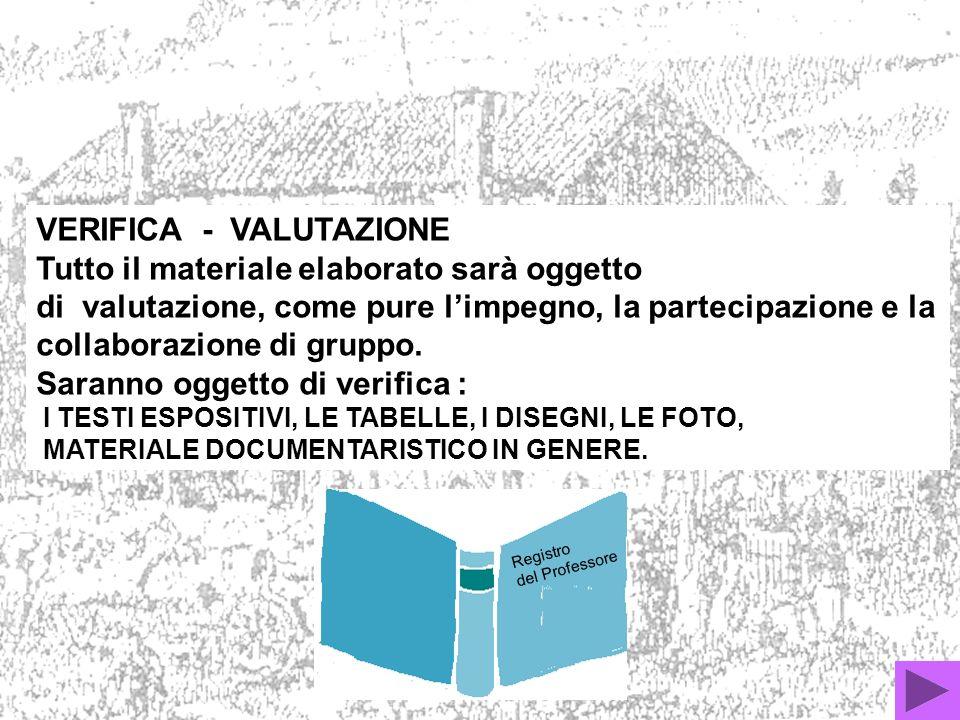 VERIFICA - VALUTAZIONE Tutto il materiale elaborato sarà oggetto di valutazione, come pure limpegno, la partecipazione e la collaborazione di gruppo.