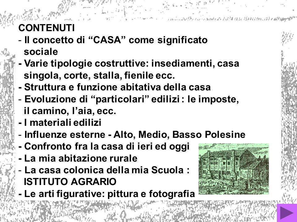 CONTENUTI - Il concetto di CASA come significato sociale - Varie tipologie costruttive: insediamenti, casa singola, corte, stalla, fienile ecc.