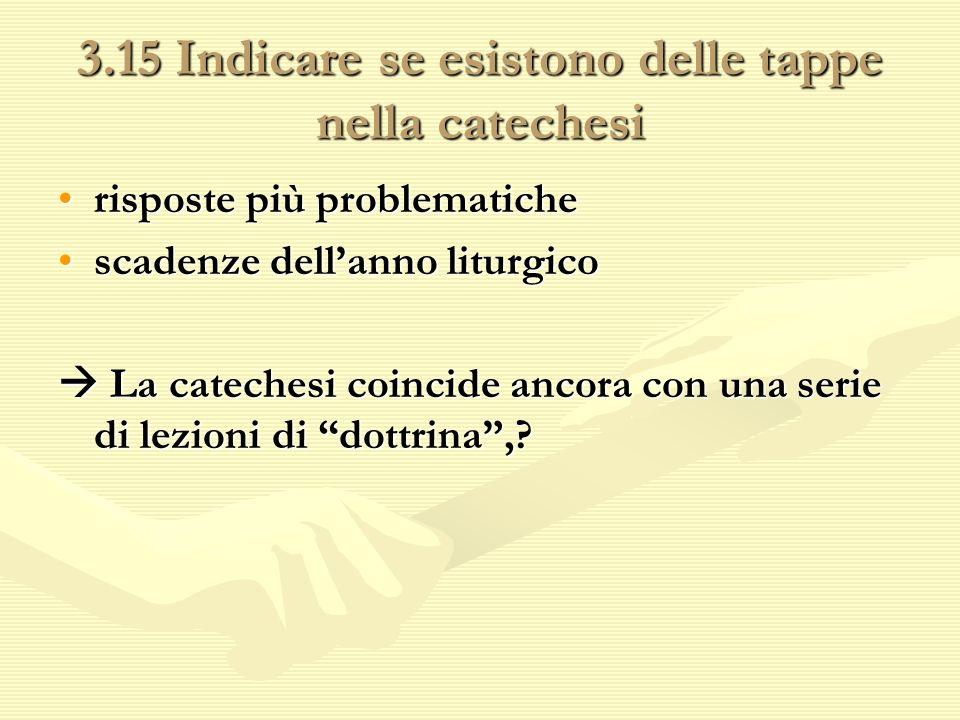 3.15 Indicare se esistono delle tappe nella catechesi risposte più problematicherisposte più problematiche scadenze dellanno liturgicoscadenze dellann