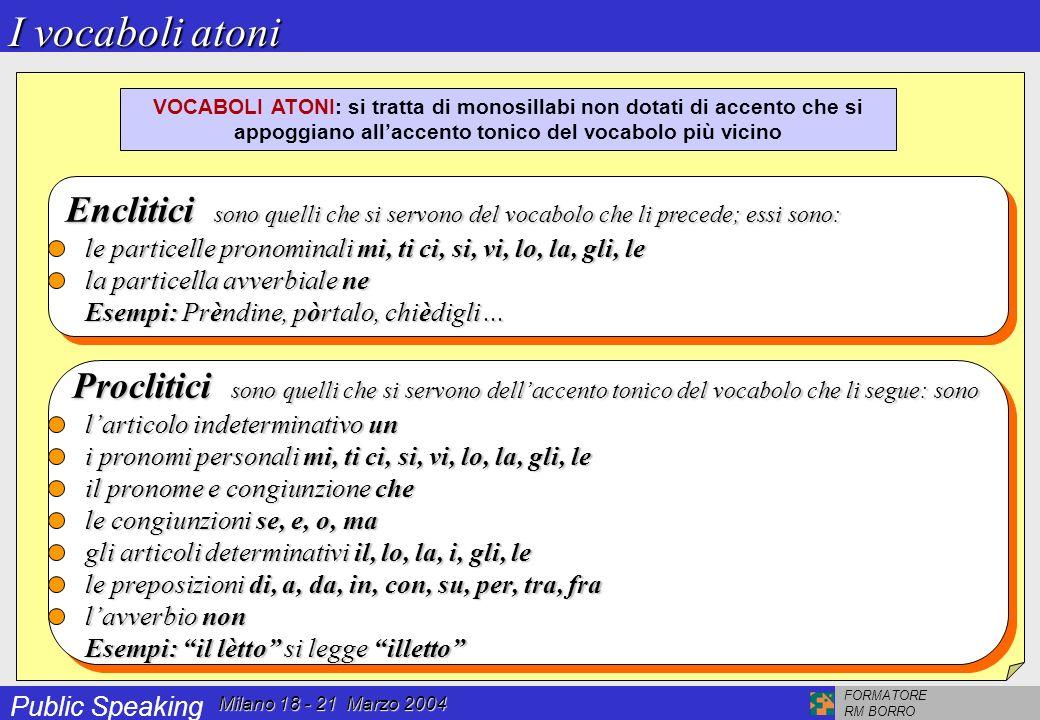 Public Speaking FORMATORE RM BORRO Milano 18 - 21 Marzo 2004 Accento acuto (o chiuso) ha la proprietà di restringere (o chiudere appunto) il suono (Es.