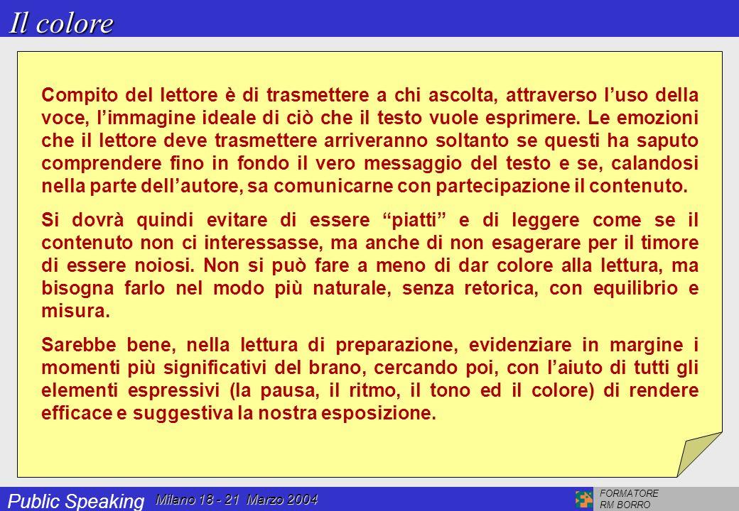 Public Speaking FORMATORE RM BORRO Milano 18 - 21 Marzo 2004 Chi non conosce il testo, può comprenderne lesatto senso solo se chi legge rispetta sia le pause sintattiche (punteggiatura), sia quelle interpretative.