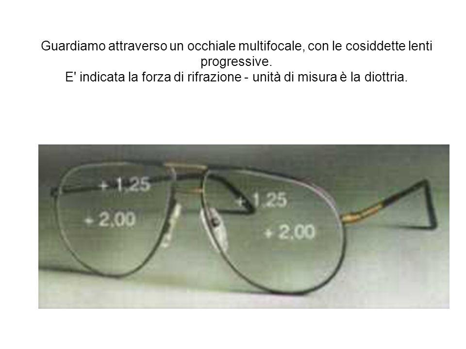 Guardiamo attraverso un occhiale multifocale, con le cosiddette lenti progressive. E' indicata la forza di rifrazione - unità di misura è la diottria.