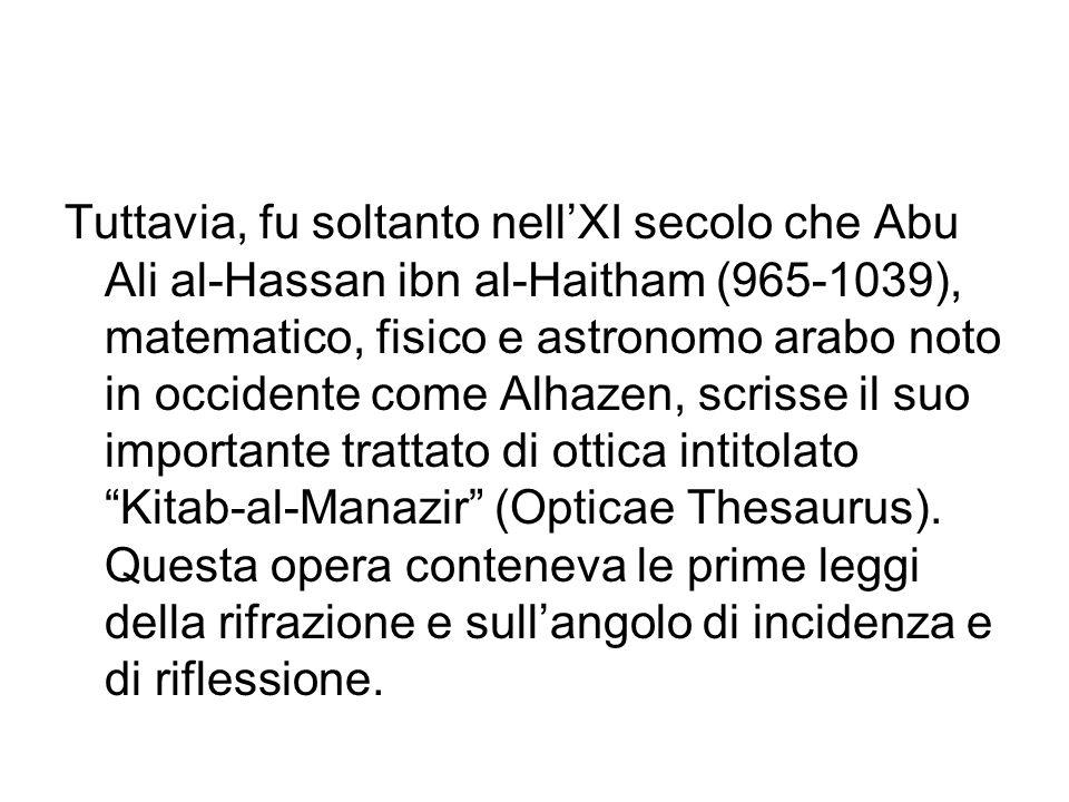 Tuttavia, fu soltanto nellXI secolo che Abu Ali al-Hassan ibn al-Haitham (965-1039), matematico, fisico e astronomo arabo noto in occidente come Alhaz