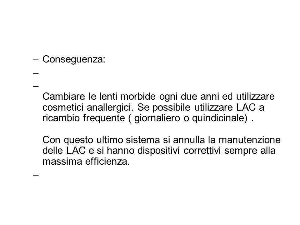 –Conseguenza: – – Cambiare le lenti morbide ogni due anni ed utilizzare cosmetici anallergici. Se possibile utilizzare LAC a ricambio frequente ( gior