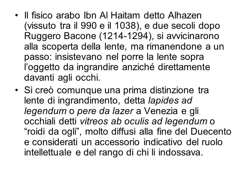 Il fisico arabo Ibn Al Haitam detto Alhazen (vissuto tra il 990 e il 1038), e due secoli dopo Ruggero Bacone (1214-1294), si avvicinarono alla scopert