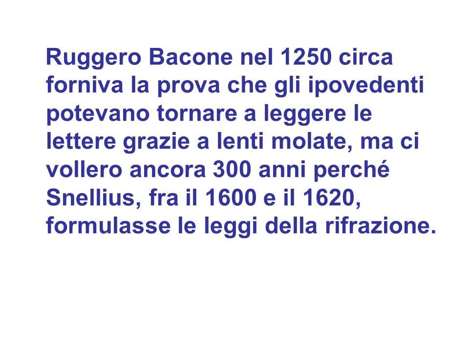 Ruggero Bacone nel 1250 circa forniva la prova che gli ipovedenti potevano tornare a leggere le lettere grazie a lenti molate, ma ci vollero ancora 30
