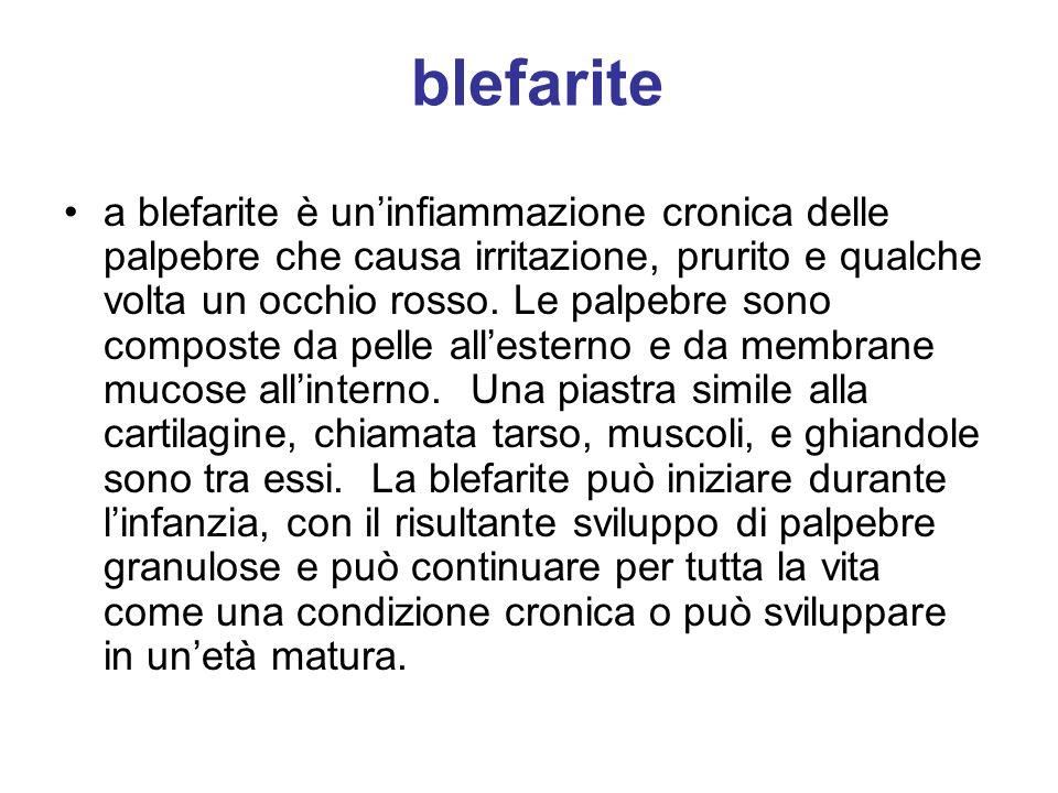 blefarite a blefarite è uninfiammazione cronica delle palpebre che causa irritazione, prurito e qualche volta un occhio rosso. Le palpebre sono compos