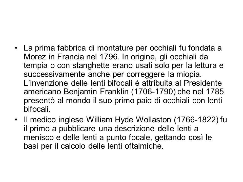 La prima fabbrica di montature per occhiali fu fondata a Morez in Francia nel 1796. In origine, gli occhiali da tempia o con stanghette erano usati so