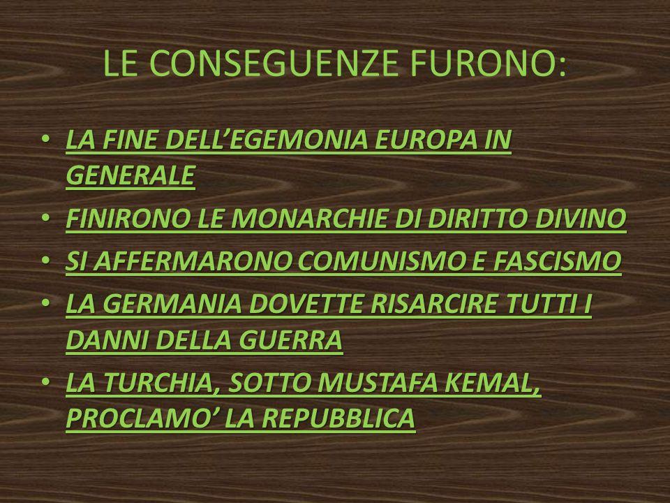 LE CONSEGUENZE FURONO: LA FINE DELLEGEMONIA EUROPA IN GENERALE LA FINE DELLEGEMONIA EUROPA IN GENERALE FINIRONO LE MONARCHIE DI DIRITTO DIVINO FINIRON