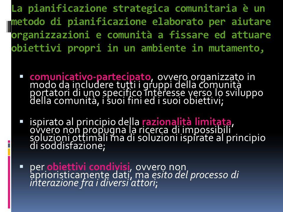 La pianificazione strategica comunitaria è un metodo di pianificazione elaborato per aiutare organizzazioni e comunità a fissare ed attuare obiettivi