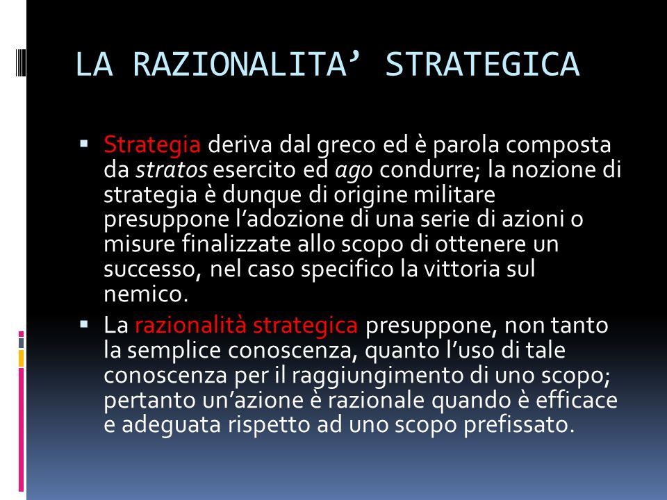 LA RAZIONALITA STRATEGICA Strategia deriva dal greco ed è parola composta da stratos esercito ed ago condurre; la nozione di strategia è dunque di ori