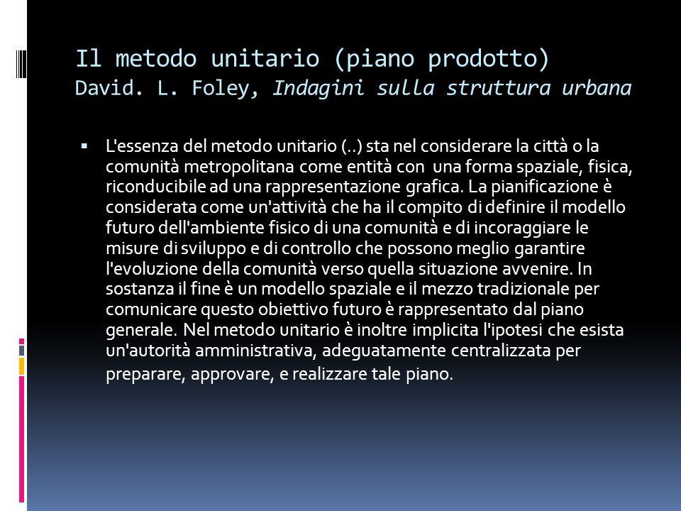 Il metodo unitario (piano prodotto) David. L. Foley, Indagini sulla struttura urbana L'essenza del metodo unitario (..) sta nel considerare la città o