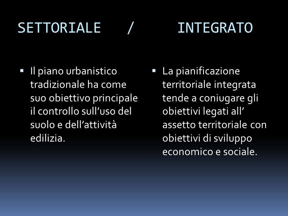 SETTORIALE / INTEGRATO Il piano urbanistico tradizionale ha come suo obiettivo principale il controllo sulluso del suolo e dellattività edilizia. La p