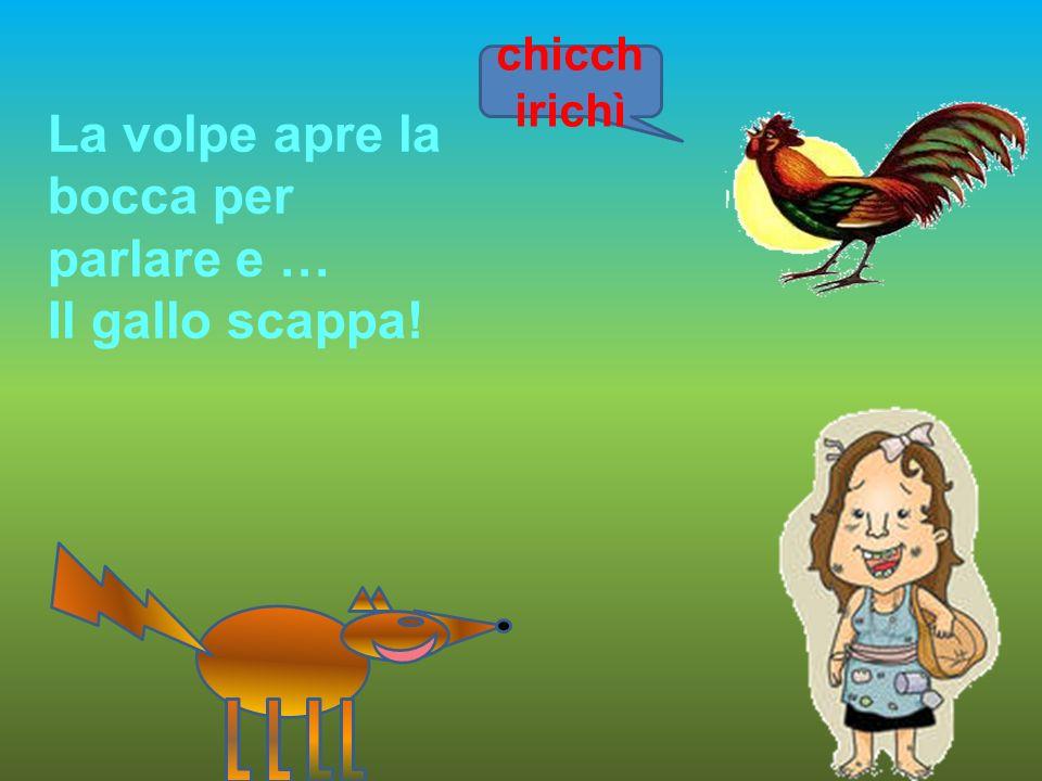 chicch irichì La volpe apre la bocca per parlare e … Il gallo scappa!