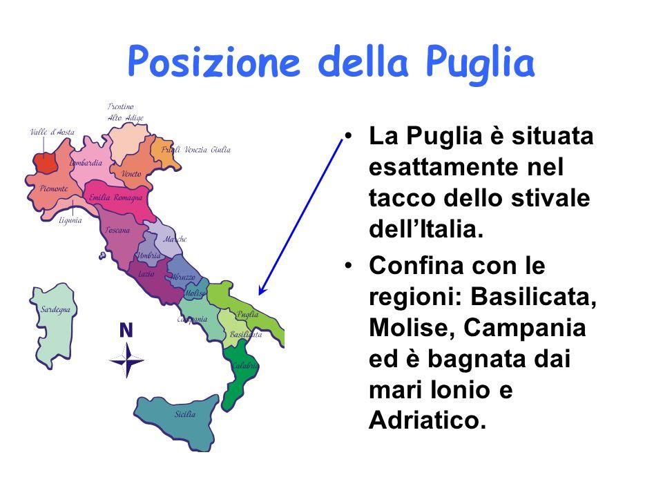 Posizione della Puglia La Puglia è situata esattamente nel tacco dello stivale dellItalia. Confina con le regioni: Basilicata, Molise, Campania ed è b
