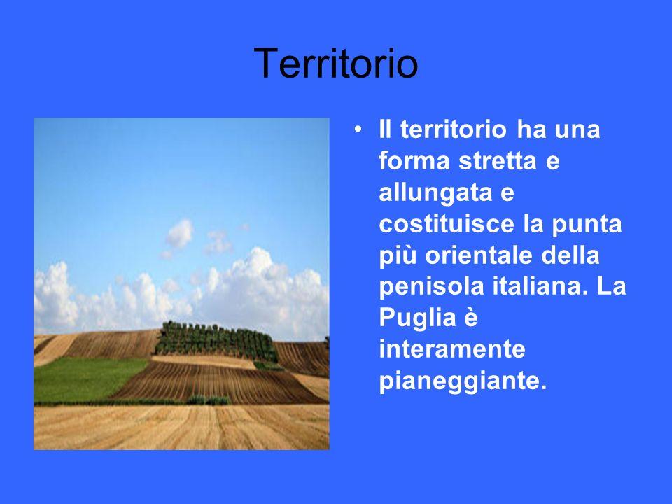 Territorio Il territorio ha una forma stretta e allungata e costituisce la punta più orientale della penisola italiana. La Puglia è interamente pianeg