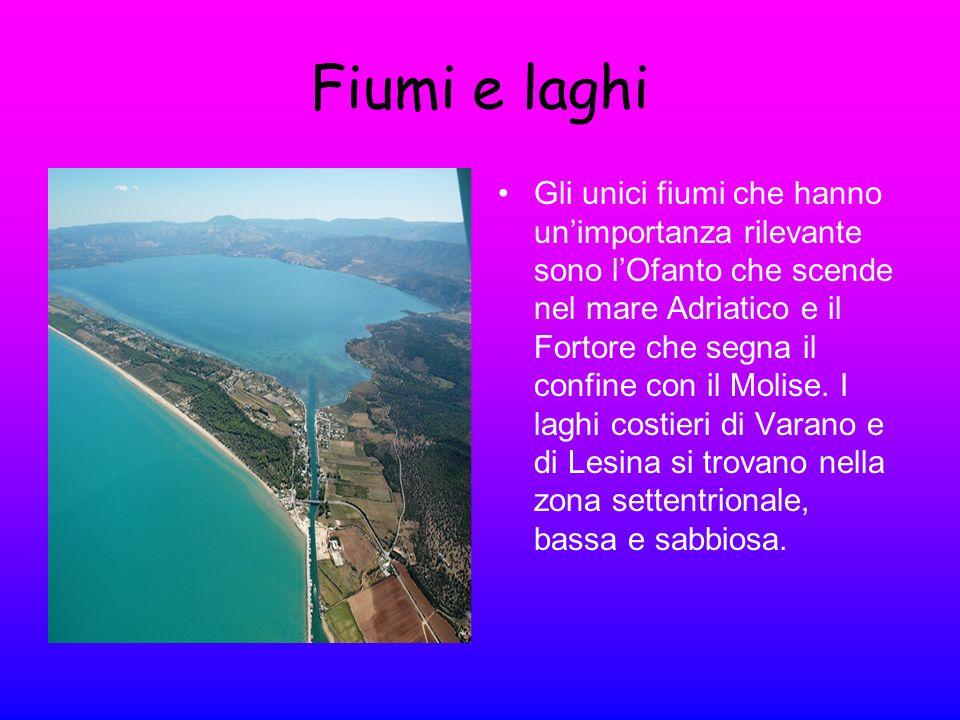 Fiumi e laghi Gli unici fiumi che hanno unimportanza rilevante sono lOfanto che scende nel mare Adriatico e il Fortore che segna il confine con il Mol
