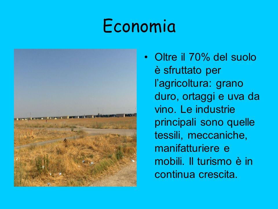 Economia Oltre il 70% del suolo è sfruttato per lagricoltura: grano duro, ortaggi e uva da vino. Le industrie principali sono quelle tessili, meccanic