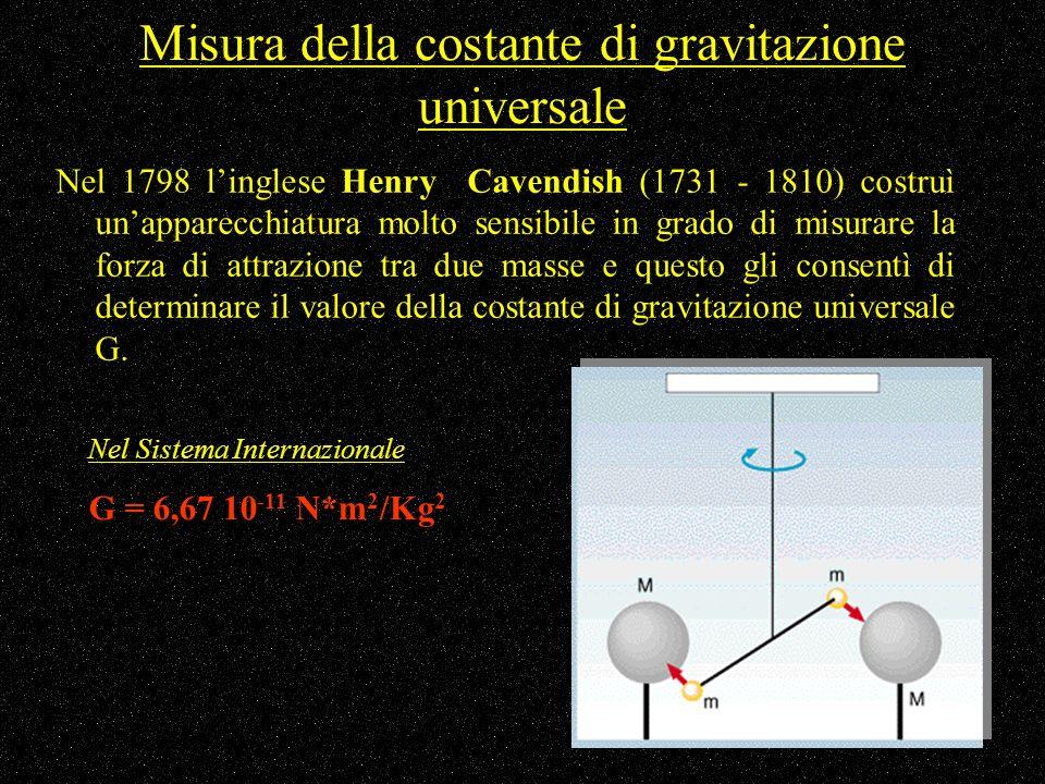Misura della costante di gravitazione universale Nel 1798 linglese Henry Cavendish (1731 - 1810) costruì unapparecchiatura molto sensibile in grado di