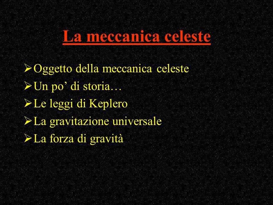 La meccanica celeste Oggetto della meccanica celeste Un po di storia… Le leggi di Keplero La gravitazione universale La forza di gravità