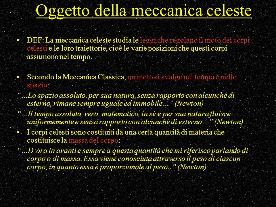 Oggetto della meccanica celeste DEF: La meccanica celeste studia le leggi che regolano il moto dei corpi celesti e le loro traiettorie, cioè le varie