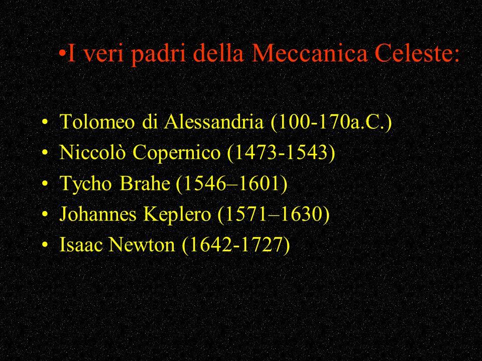 I veri padri della Meccanica Celeste: Tolomeo di Alessandria (100-170a.C.) Niccolò Copernico (1473-1543) Tycho Brahe (1546–1601) Johannes Keplero (157