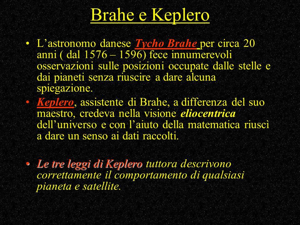 Brahe e Keplero Lastronomo danese Tycho Brahe per circa 20 anni ( dal 1576 – 1596) fece innumerevoli osservazioni sulle posizioni occupate dalle stell