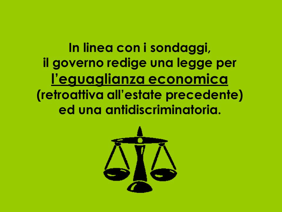 In linea con i sondaggi, il governo redige una legge per leguaglianza economica (retroattiva allestate precedente) ed una antidiscriminatoria.