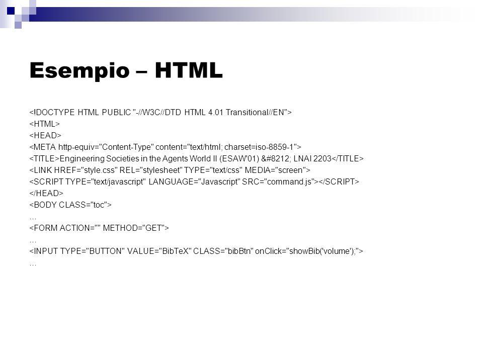 Esempio – HTML Engineering Societies in the Agents World II (ESAW 01) — LNAI 2203 … … …