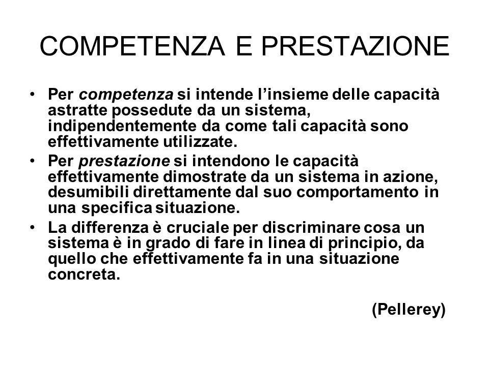 COMPETENZA E PRESTAZIONE Per competenza si intende linsieme delle capacità astratte possedute da un sistema, indipendentemente da come tali capacità s