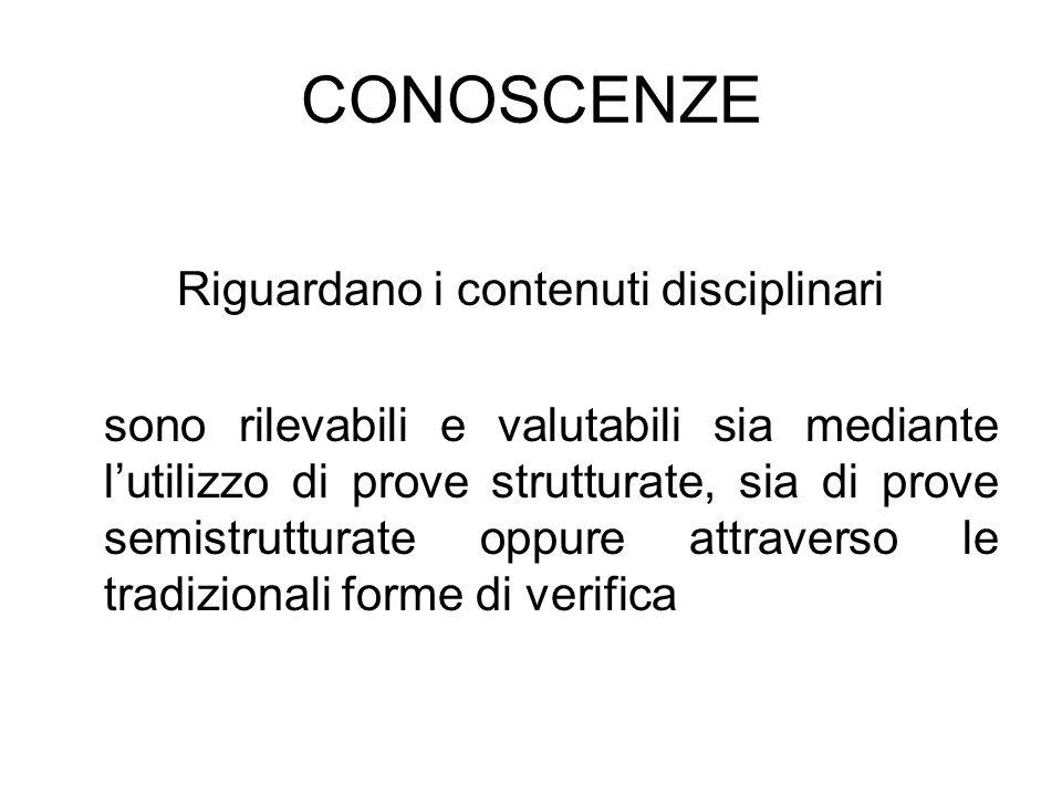 CONOSCENZE Riguardano i contenuti disciplinari sono rilevabili e valutabili sia mediante lutilizzo di prove strutturate, sia di prove semistrutturate