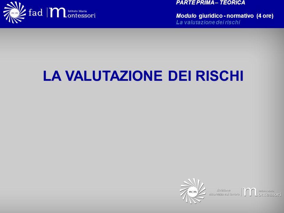 LA VALUTAZIONE DEI RISCHI PARTE PRIMA – TEORICA Modulo giuridico - normativo (4 ore) La valutazione dei rischi