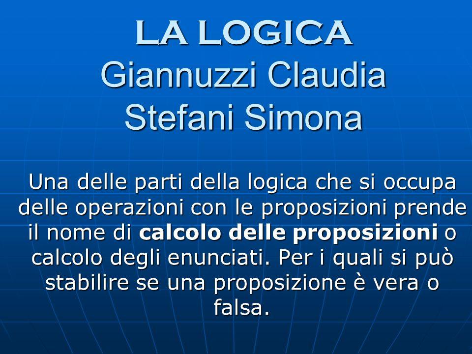 LA LOGICA Giannuzzi Claudia Stefani Simona Una delle parti della logica che si occupa delle operazioni con le proposizioni prende il nome di calcolo d