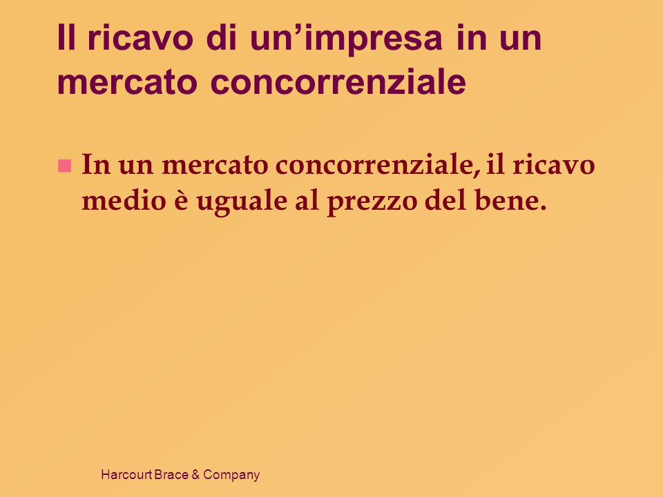 Harcourt Brace & Company Aggiustamento di lungo periodo Mercato Impresa Quantità (impresa) 0 Prezzo CM CMeT P1P1 Quantità (mercato) Prezzo 0 D1D1 D2D2 P1P1 Q1Q1 Q2Q2 P2P2 A B O1O1 Offerta di lungo periodo O2O2