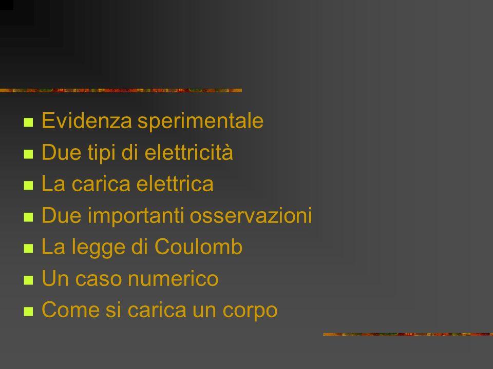 Evidenza sperimentale Due tipi di elettricità La carica elettrica Due importanti osservazioni La legge di Coulomb Un caso numerico Come si carica un corpo