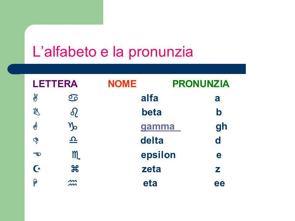 Lalfabeto e la pronunzia LETTERA NOME PRONUNZIA A a alfa a B b beta b G g gamma gh D d delta d E e epsilon e Z z zeta z H h eta ee