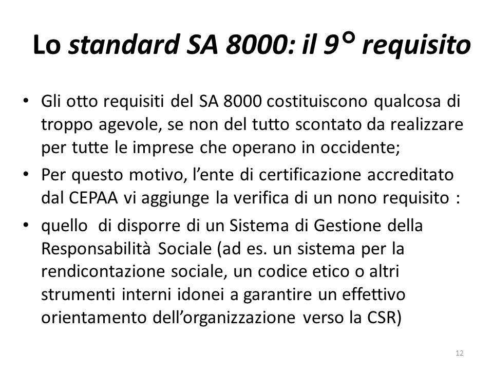 Lo standard SA 8000: il 9° requisito Gli otto requisiti del SA 8000 costituiscono qualcosa di troppo agevole, se non del tutto scontato da realizzare per tutte le imprese che operano in occidente; Per questo motivo, lente di certificazione accreditato dal CEPAA vi aggiunge la verifica di un nono requisito : quello di disporre di un Sistema di Gestione della Responsabilità Sociale (ad es.