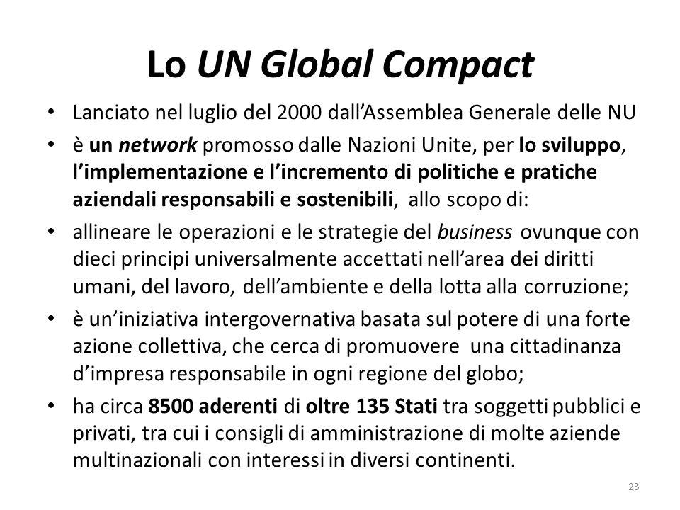 Lo UN Global Compact Lanciato nel luglio del 2000 dallAssemblea Generale delle NU è un network promosso dalle Nazioni Unite, per lo sviluppo, limplementazione e lincremento di politiche e pratiche aziendali responsabili e sostenibili, allo scopo di: allineare le operazioni e le strategie del business ovunque con dieci principi universalmente accettati nellarea dei diritti umani, del lavoro, dellambiente e della lotta alla corruzione; è uniniziativa intergovernativa basata sul potere di una forte azione collettiva, che cerca di promuovere una cittadinanza dimpresa responsabile in ogni regione del globo; ha circa 8500 aderenti di oltre 135 Stati tra soggetti pubblici e privati, tra cui i consigli di amministrazione di molte aziende multinazionali con interessi in diversi continenti.