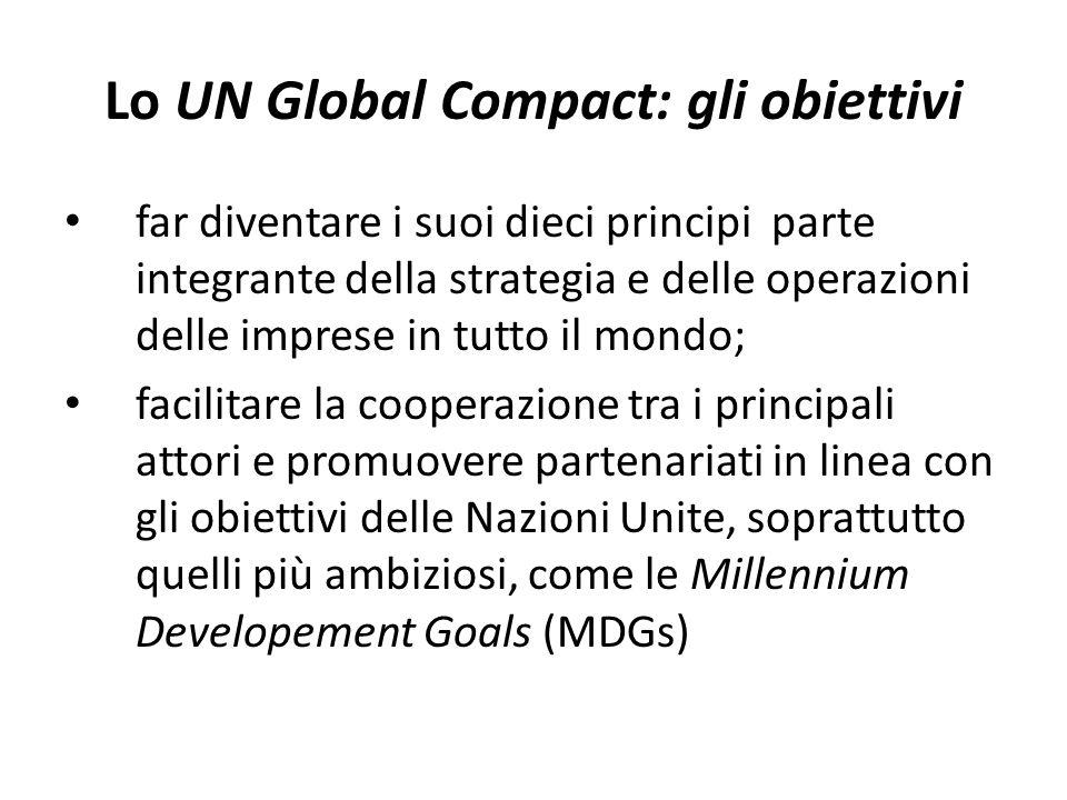 Lo UN Global Compact: gli obiettivi far diventare i suoi dieci principi parte integrante della strategia e delle operazioni delle imprese in tutto il mondo; facilitare la cooperazione tra i principali attori e promuovere partenariati in linea con gli obiettivi delle Nazioni Unite, soprattutto quelli più ambiziosi, come le Millennium Developement Goals (MDGs)