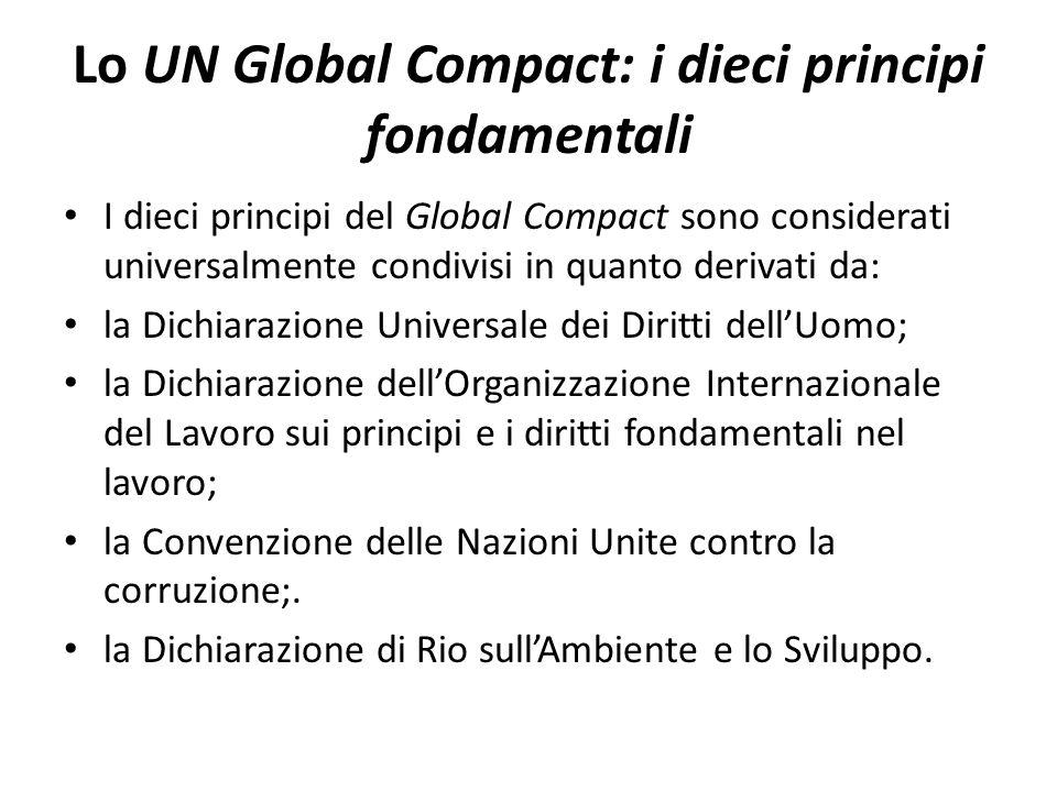 Lo UN Global Compact: i dieci principi fondamentali I dieci principi del Global Compact sono considerati universalmente condivisi in quanto derivati da: la Dichiarazione Universale dei Diritti dellUomo; la Dichiarazione dellOrganizzazione Internazionale del Lavoro sui principi e i diritti fondamentali nel lavoro; la Convenzione delle Nazioni Unite contro la corruzione;.