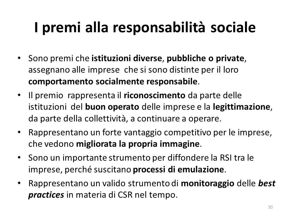 I premi alla responsabilità sociale Sono premi che istituzioni diverse, pubbliche o private, assegnano alle imprese che si sono distinte per il loro comportamento socialmente responsabile.