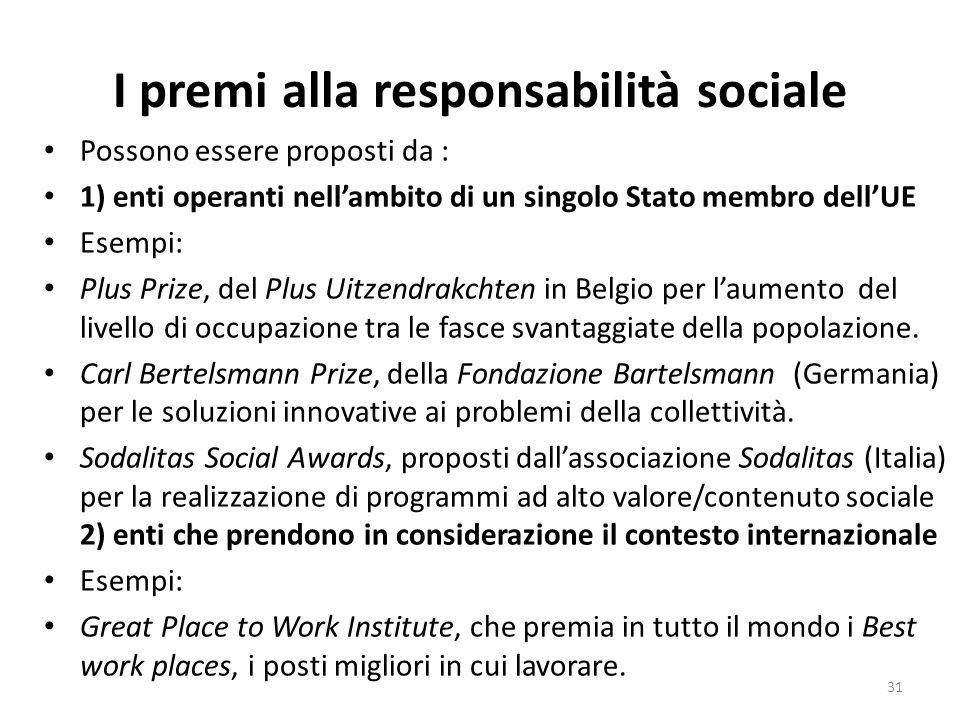 I premi alla responsabilità sociale Possono essere proposti da : 1) enti operanti nellambito di un singolo Stato membro dellUE Esempi: Plus Prize, del Plus Uitzendrakchten in Belgio per laumento del livello di occupazione tra le fasce svantaggiate della popolazione.