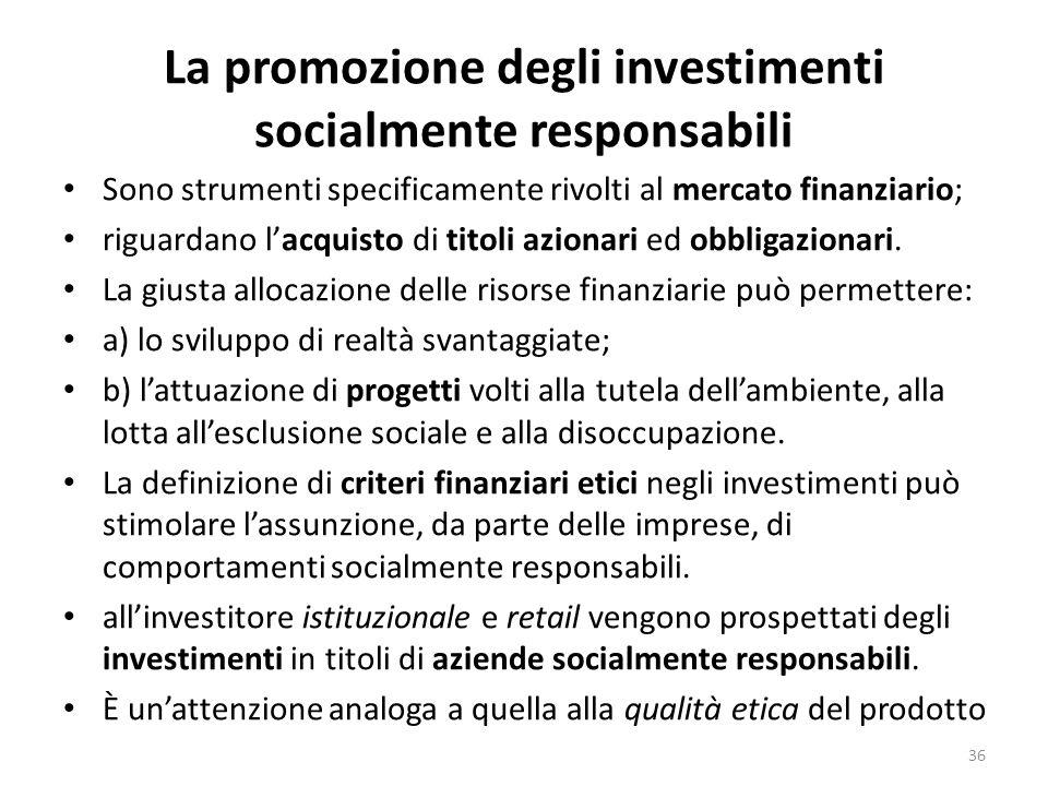 La promozione degli investimenti socialmente responsabili Sono strumenti specificamente rivolti al mercato finanziario; riguardano lacquisto di titoli azionari ed obbligazionari.